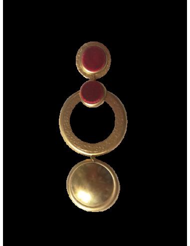 Pendiente dorado doble botón terciopelo